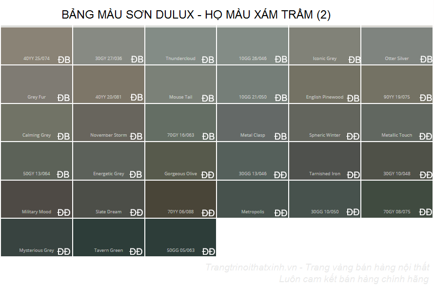 Bảng màu sơn dulux 10