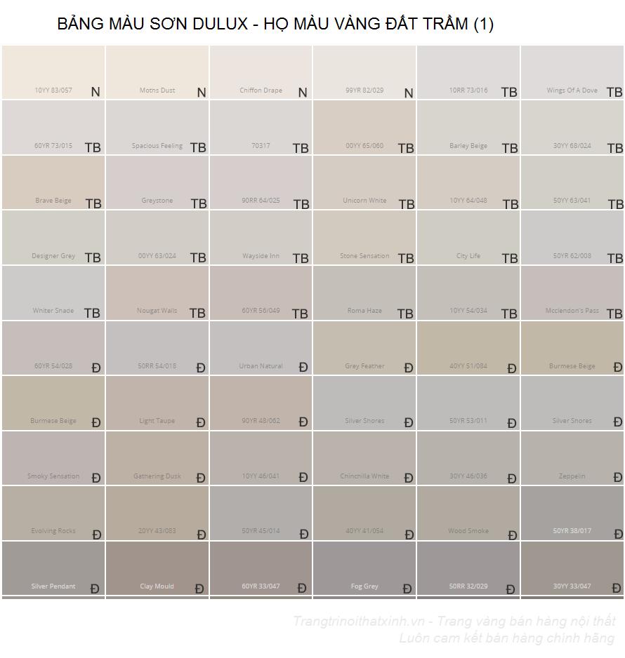 Bảng màu sơn dulux 2