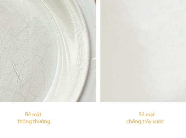 bề mặt men sứ chống trầy xước