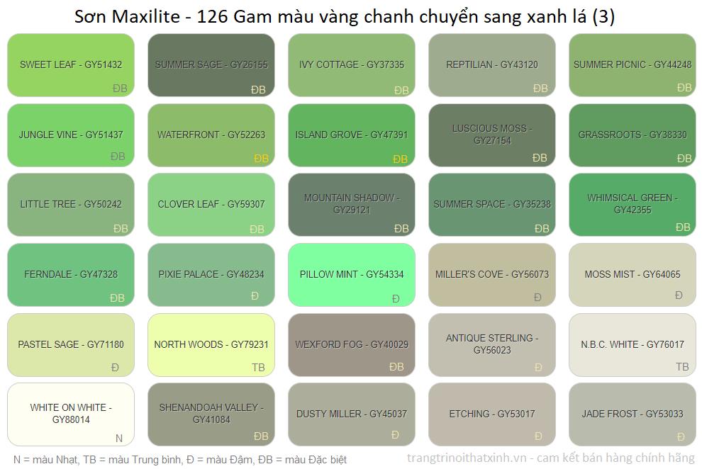 bang mau son maxilite 14